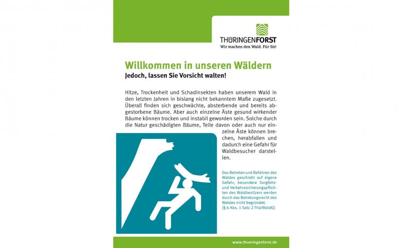 Plakat Gefahr Wald ThüringenForst
